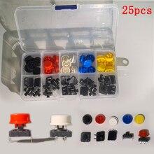 25 шт./кор. тактильная нажимная кнопка переключатель мгновенный 12*12*7,3 мм микро-кнопка переключения+ 25 шт. тактильная крышка 5 цветов для Arduino переключатель