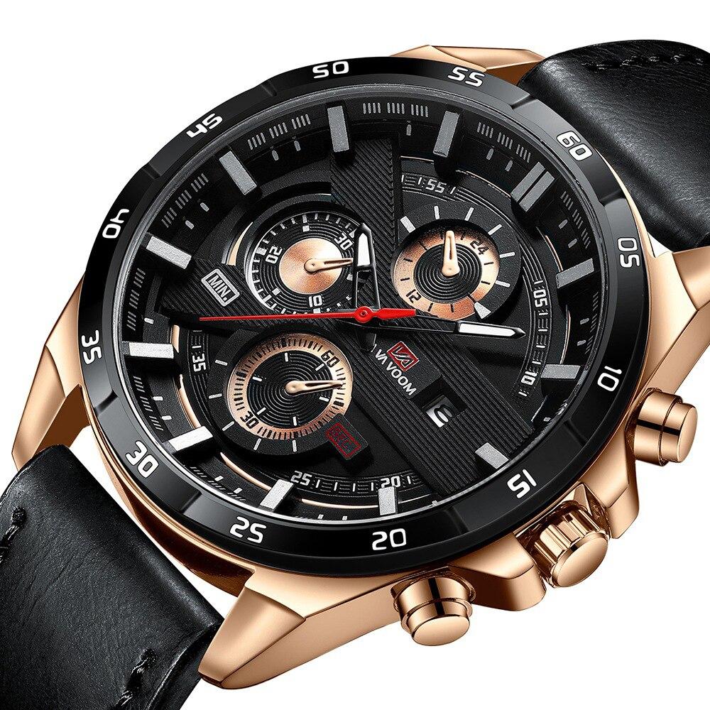 Samco New Fashion Mens Watches Top Brand Luxury Big Dial Military Quartz Watch Leather Waterproof Sport Watch Men
