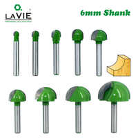 LA VIE 5pcs or 4pcs 6mm Shank Ball Nose Router Bits Set End Mill Round Cove Box Solid Carbide CNC Radius Core Milling Bit MC0602