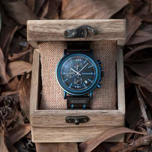Image 2 - Reloj hombre bobo pássaro novo relógio de madeira masculino marca superior luxo cronógrafo militar relógios quartzo para o homem dropshipping personalizado