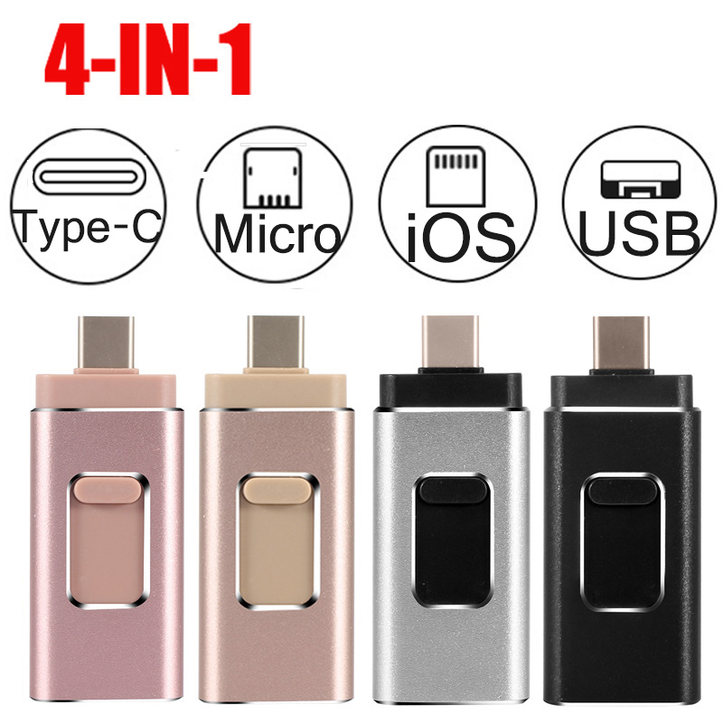 4 In 1 OTG USB Flash Drive 16g 32gb 64gb 128gb 256gb Memory Stick Type-C Pen Drive For Samsung S9 S8 Iphone X 8 7 Android Phones