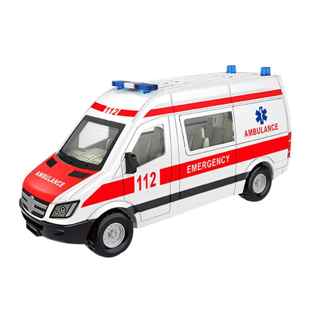 Hospital Rescue Police Alloy Ambulance Vehicle With Sound Light Diecast Car Model Toys For Gift With Pull Back For Children