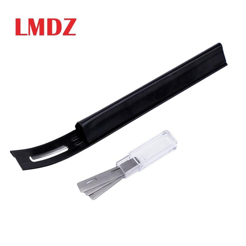 LMDZ Steel Modern Safety Beveler Skiver Thinning Leather Craft Blade Knife DIY Seams Tool For Home Handmade Accessories+3 Blades