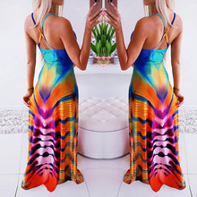 Open Back Sling Ladies Dress Summer Dresses Colorful contrast Ankle-Length Home Daily Casual Dress Women Vestido Longo S-XL D25 color contrast open back casual dress