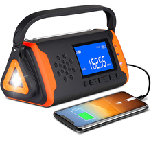 Emergency Weather Crank Radio 4000mAh Portable Radio Solar Powered Hand Crank Weather Alert Radio Aux Music Play SOS Alarm