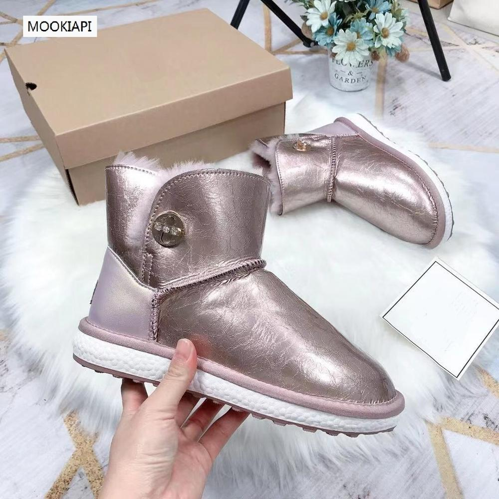 2019 Australia's latest snow boots with zipper, integrated with sheepskin and wool, natural wool, fashionable women's shoes