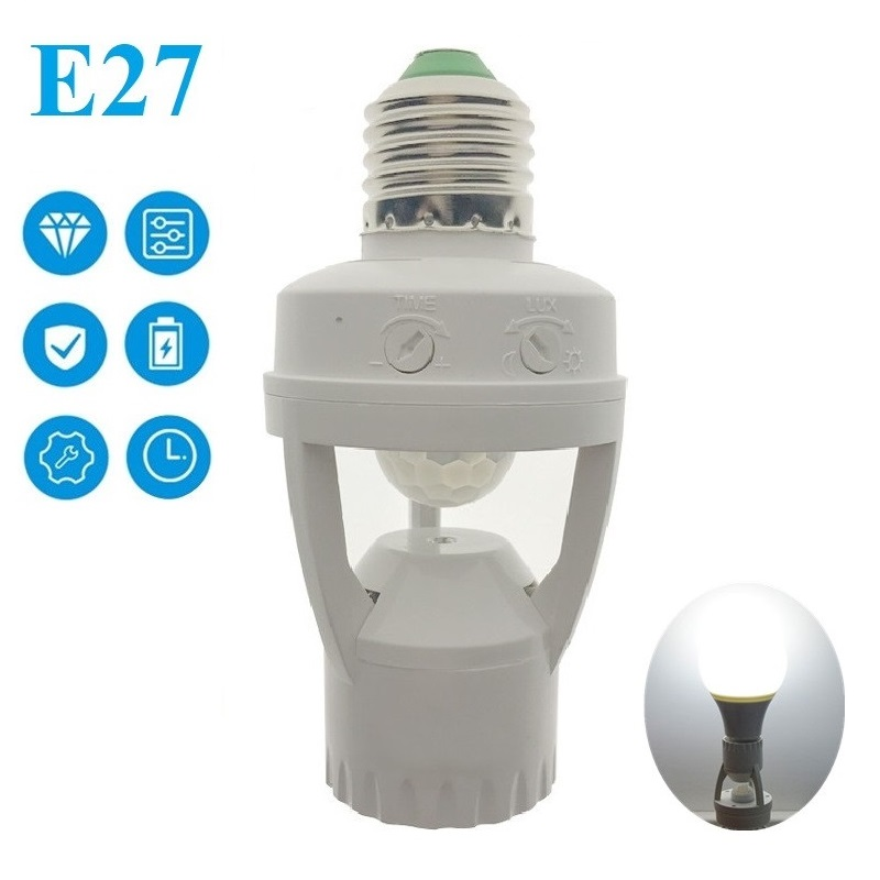 AC100-240V 360° PIR Induction Motion Sensor IR Human Infrared Detector E27 Socket Switch Base Led Bulb Light Sensor Lamp Holder