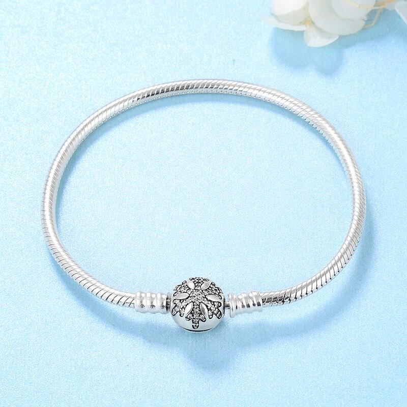 Image 3 - Womens Fine Jewelry Bracelet Silver 925 Original Crystal CZ  Snowflake Snake Bone Chain Charm Bracelet Bangles femme DIY  GiftBracelets