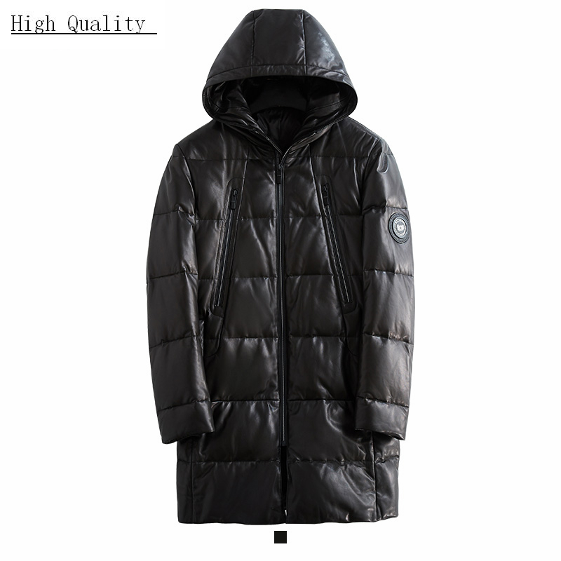 Winter 100% Real Sheepskin Coat Men Genuine Leather Jacket Clothes 2020 Long Warm Leather Duck Down Jackets Hiver 00033