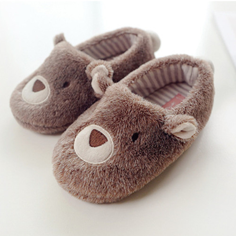 Suihyung Children's Slippers Boys Girls Winter Warm Fluffy Slippers Soft Furry Home Indoor Shoes Kids Plush Animals Cotton Shoes