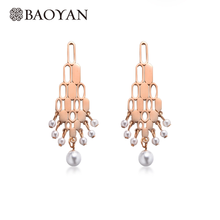 Baoyan Earrings Fashion Jewelry Women Natural Round Pearl Rose Gold Silver Plating Stainless Steel Drop