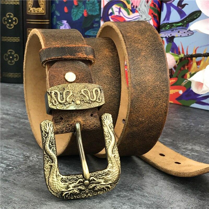 Chinese Dragon Cowboy Brass Belt Buckle Men's Belt Ceinture Homme Yellow Belt Male Wide Jeans Men Leather Belt Riem MBT0099