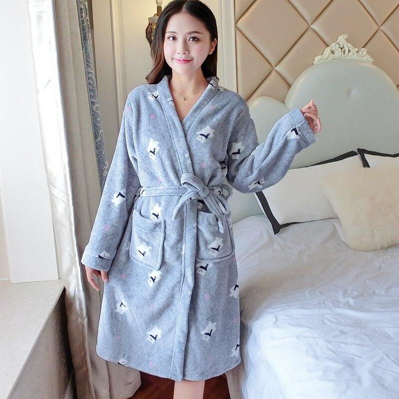 Cartoon New 2019 Thicken Nightgowns Winter Bathrobe Women Pajamas Bath Flannel Warm Robe Sleepwear Womens Robes Coral Velvet