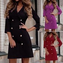 Woman Dress   Elegant Velvet Casaul-Work Solid-Turn-Down Neck-Double-Breasted