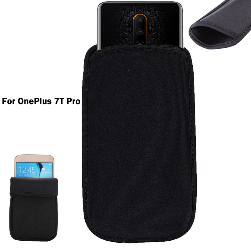 For OnePlus 7T Pro Soft Flexible Neoprene Protective Black Pouch For OnePlus 7T Pro Elastic Sleeves universal bag Case