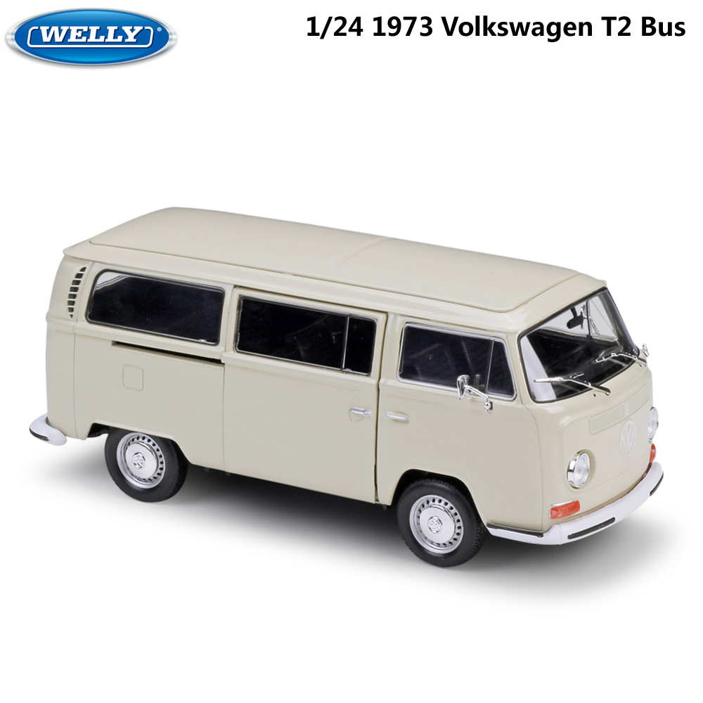 WELLY Diecast 1:24 Scale Car Toys 1972 Volkswagen T2 Bus Model Car Simulator Alloy Metal ClassicToy Car For Kid Gift Collection