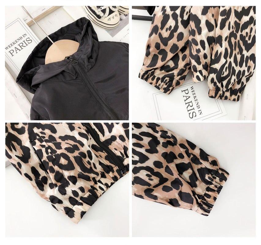 de Impressão Leopardo Com Capuz Casacos Impermeáveis Jaquetas LZ479
