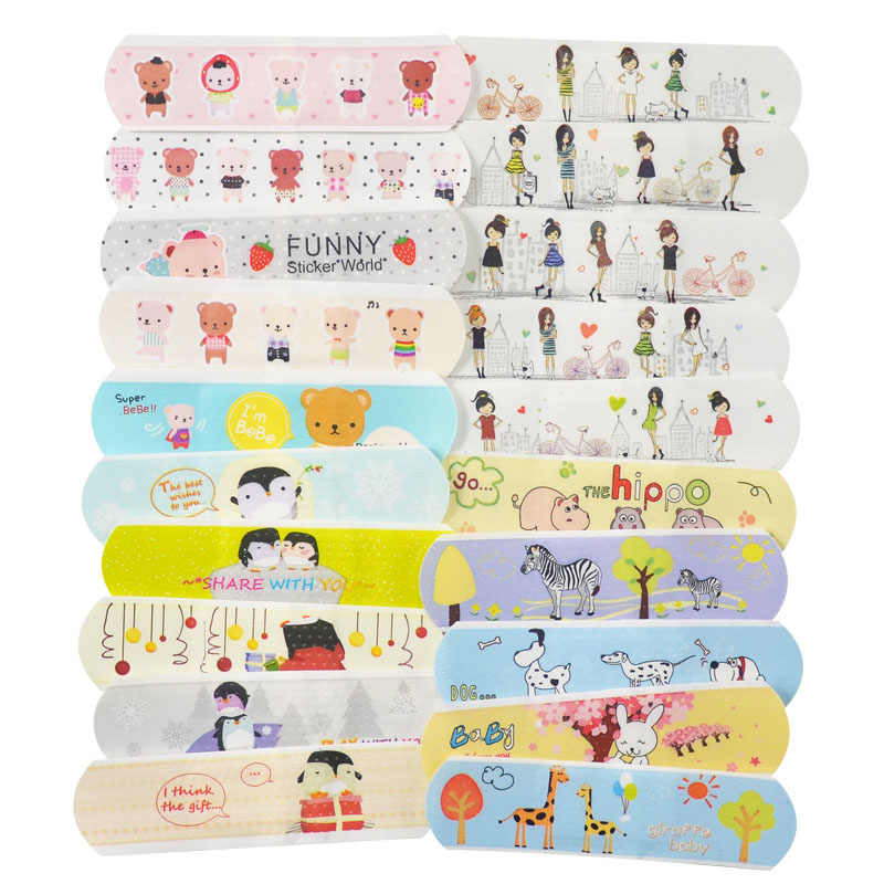 100 Pcs Waterdichte Cartoon Band Aid Hemostase Pleisters Ehbo Emergency Kit Vervanging Hansaplast Voor Kid Kinderen