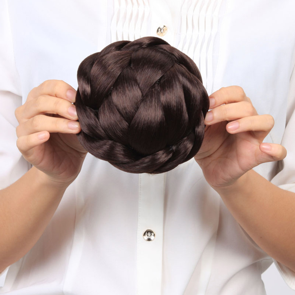 AOOSOO Womens Lady Chignon Synthetic Updo Hairpiece Clip-In Hair BunS  Extension  Black White Women 3 Color Brown Black Headwear