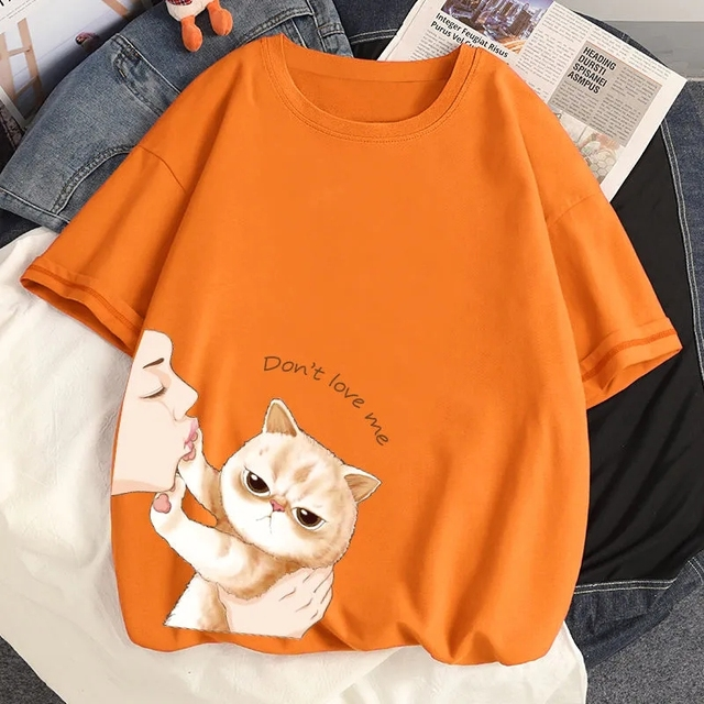 100% Cotton INS Summer New T-shirts Harajuku Japanese Cute Cat Cartoon Anime Style Loose Ulzzang Short Sleeved T-Shirt Women Top 6