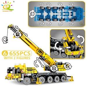 Image 4 - HUIQIBAO הנדסת דחפור מנוף טכני Dump משאית אבני בניין עיר בניית רכב רכב צעצוע לילדים ילדים מתנה