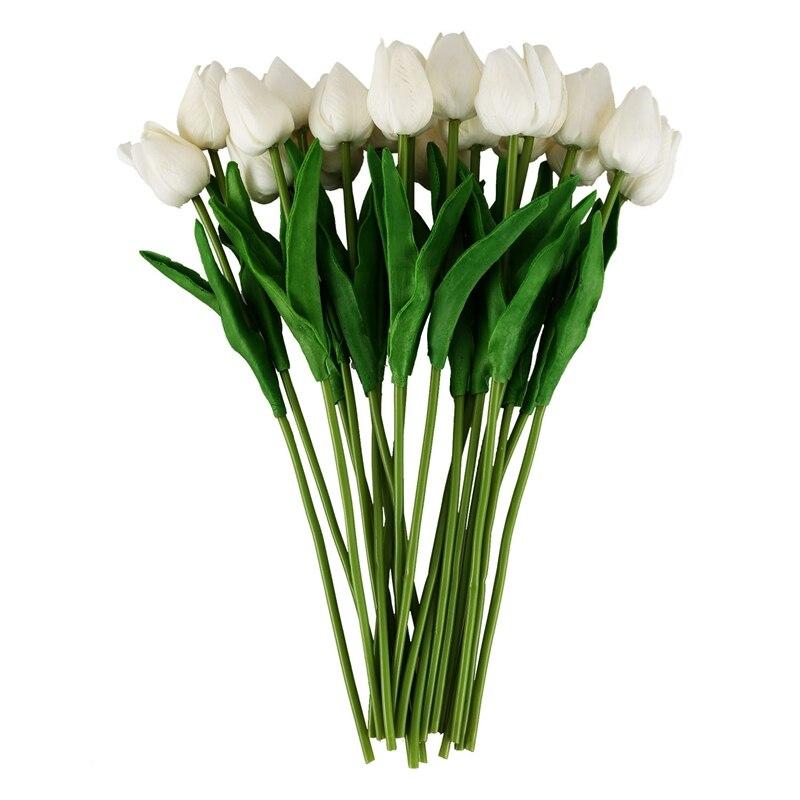 Látex de tacto Real de la flor del tulipán DE LA 20 piezas para la decoración de la boda flor mejor calidad KC451 2019 Popular anillo de arena vietnamita abierto de oro para mujeres delicado flor 3D No se decolora anillos de nudillos de puño chapado para mujeres bienes inusuales