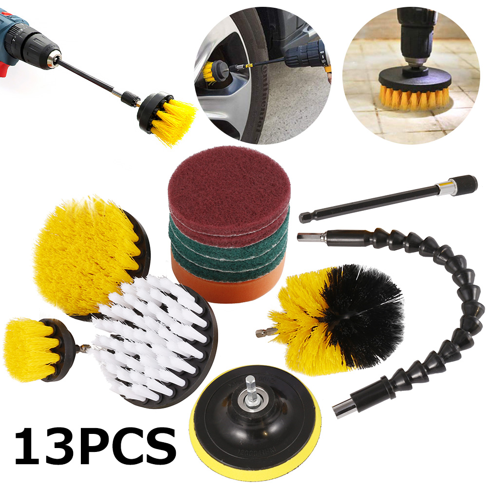 13pcs/set Electric Drill Brush Scrub Pads Kit Power Scrubber Cleaning Kit Cleaning Brush Scouring Pad For Carpet Glass Car Clean