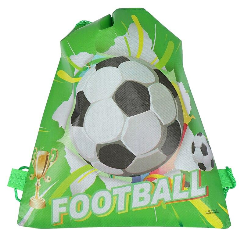 1PCS Fashion Green Football Drawstring Bags Kids Boy Favors Non-Woven Fabric School Backpacks