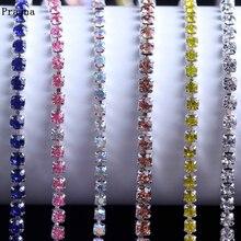 Prajna 1 Yard Class Rhinestones Trim Silver Claw Rhinestone For Clothes Wedding Dress Sew On Stones And Crystal Cup Chain  DIY F