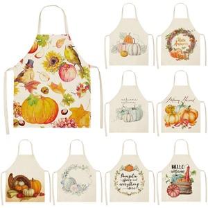 Image 1 - 1 pz grembiuli di lino in cotone da cucina stampati zucca arancione per le donne cucina a casa cottura in vita bavaglino grembiule 53*65cm Deco WQ0179