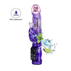 Dual Motor Dildo Rabbit Vibrator 12 Speeds Waterproof Vibration Rotation Sex Toy For Women G-Spot Massager Clitoris Stimulator