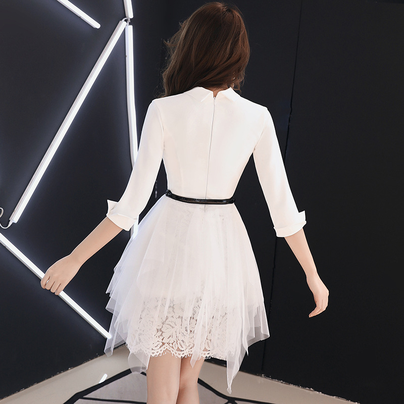 Evening Gown Women's 2018 New Style Summer Banquet White Nobility Slimming Annual General Meeting Elegant Blazers Party Debutant