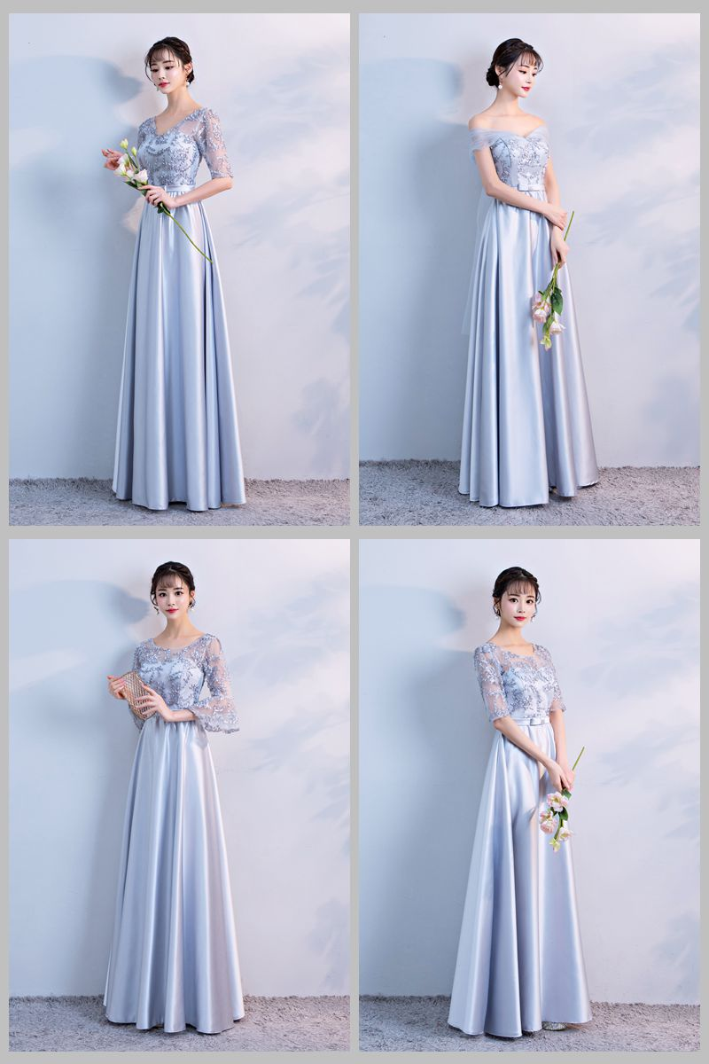 Burgundy Bridesmaid Elegnt Long Dresses For Wedding Party Long Floor Length Taffeta  A-Line Gray Sexy Prom New Years Eve Dress