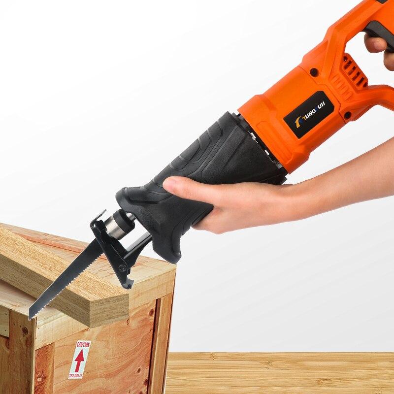 750W scie électrique scie alternative pour bois métal Plasitic tuyau coupe puissance scie outil avec lames de scie