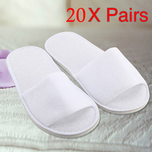 Купить с кэшбэком 5/10/20 pair disposable slippers spa hotel guest slippers open toe towel indoor disposable slippers