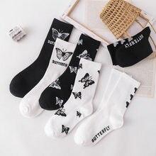 Chaussettes de dessin animé imprimées avec nœud pour femme, chaussettes blanches et noires, harajuku, mode kawaii, karpetki damskie