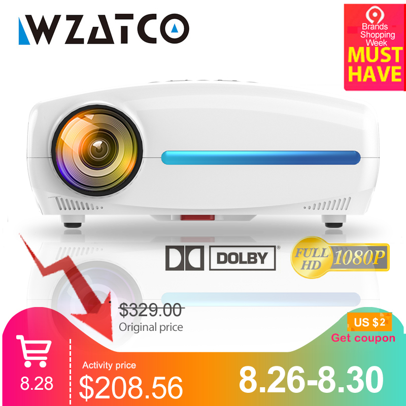 WZATCO Led-Projector Correction Keystone Wifi Digital Smart Android Home Theater Full-Hd
