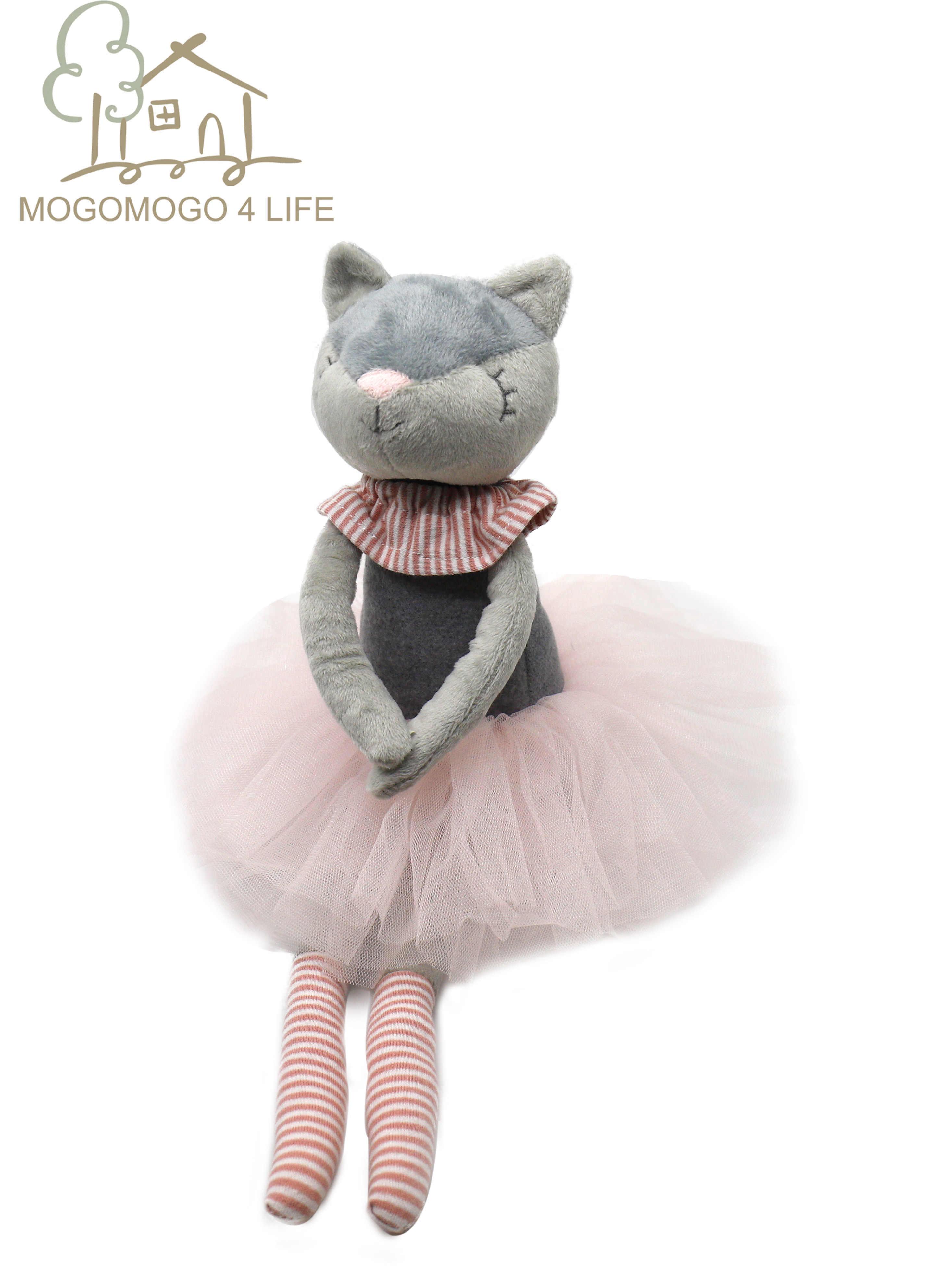 Lüks Mogo el yapımı Kitty kedi peluş oyuncaklar balerin kedi bebek prenses kedi bebek çocuklar için moda prenses bale kedi kız bebek