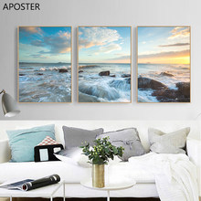 APOSTER Nordic Beautiful Sunrise Blue Sea Canvas Painting And Canvas Poster Prints Wall Art Pictures For Living Room Home Decor(China)