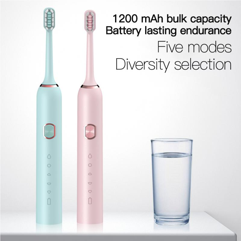 Whitening Electric Toothbrush Set Rechargeable USB Toothbrush Ultrasonic Automatic Toothbrush Adult 5 Mode Electric Toothbrush