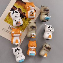 2pcs/lot 3D Fridge Magnets Worried Cat Fantasy Creation Model Message Sticker Kitchen Home Decor Fun Kids Toys Gifts