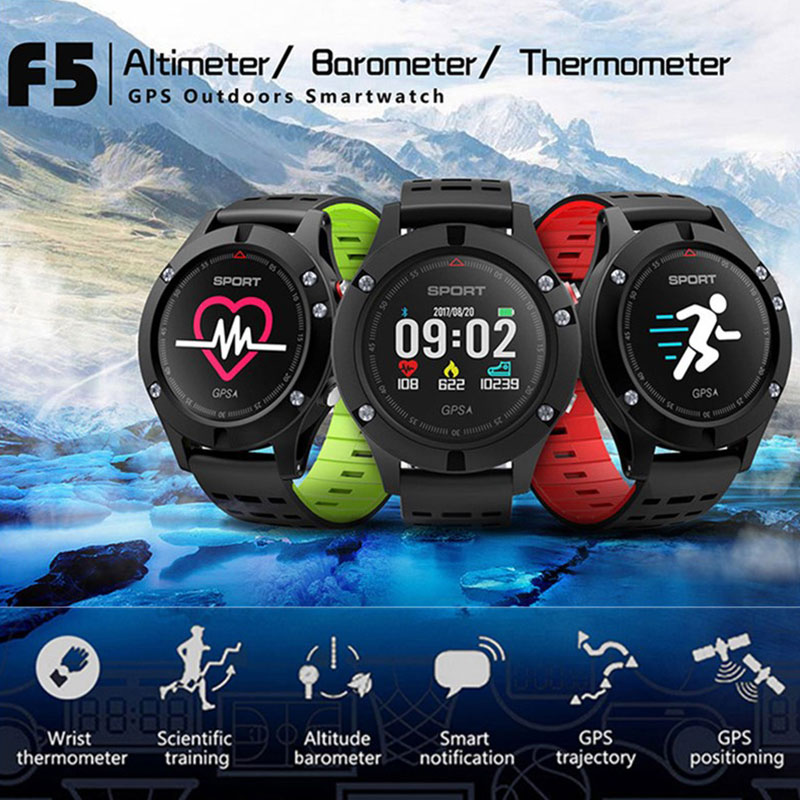 <font><b>Smart</b></font> <font><b>Watch</b></font> <font><b>No.1</b></font> <font><b>F5</b></font> GPS Altimeter Barometer Thermometer Bluetooth 4.2 Smartwatch Wearable devices for iOS Android Phone image
