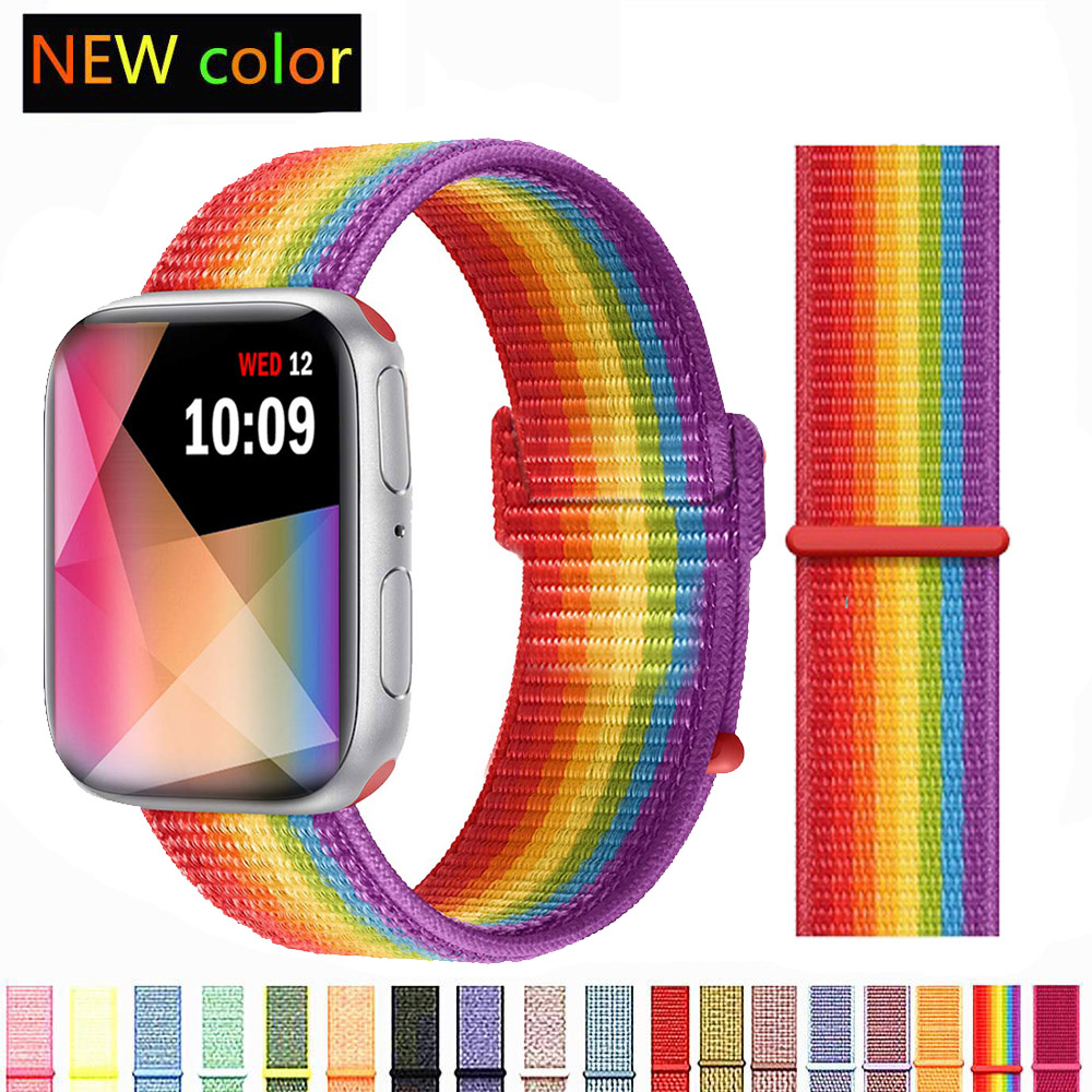 Band For Apple Watch Series 4 3/2/1 Bands 38mm 42mm Nylon Soft Breathable Replacement Sport Loop For Iwatch 4 3 2 1 40mm 44mm