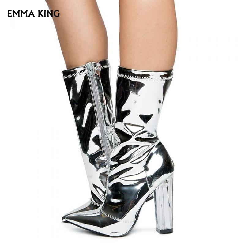 NEW Women's High Heel Boots Silver