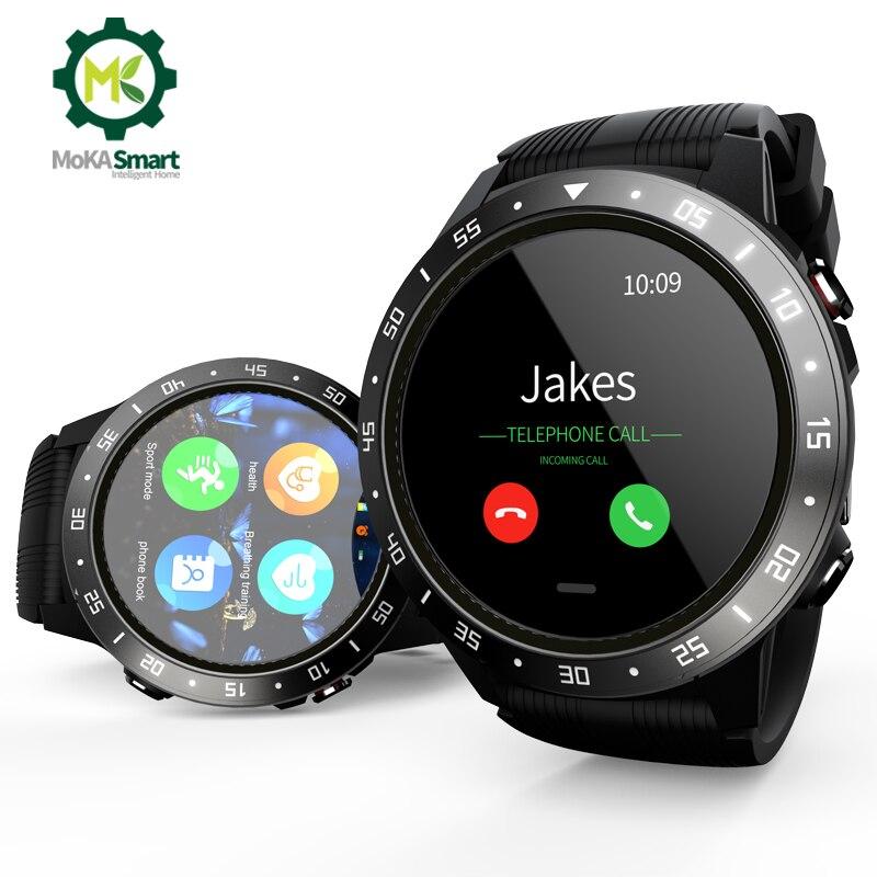 MOKA Smartwatch Android Sim Card Music GPS Sports Record Information Push Heart Rater Bluetooth Call Smart Watch Men Waterproof