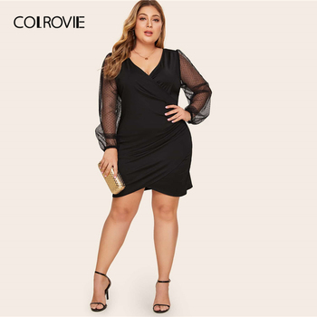 COLROVIE Plus Size Surplice Contrast Mesh Bishop Sleeve Dress Women Black Sexy Mini Dress 2020 V neck Solid Glamorous Dresses 4