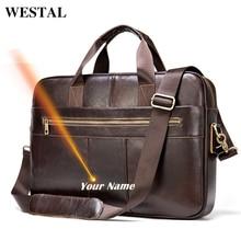 WESTAL laser engrave men's leather bag men's briefcase genui