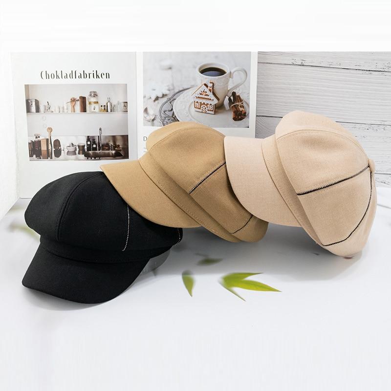 2021 New Stlye Women Caps Newsboy Cap outdoor Travel Octagonal Peaked Chain Hat Female Sunscreen Hats Painter