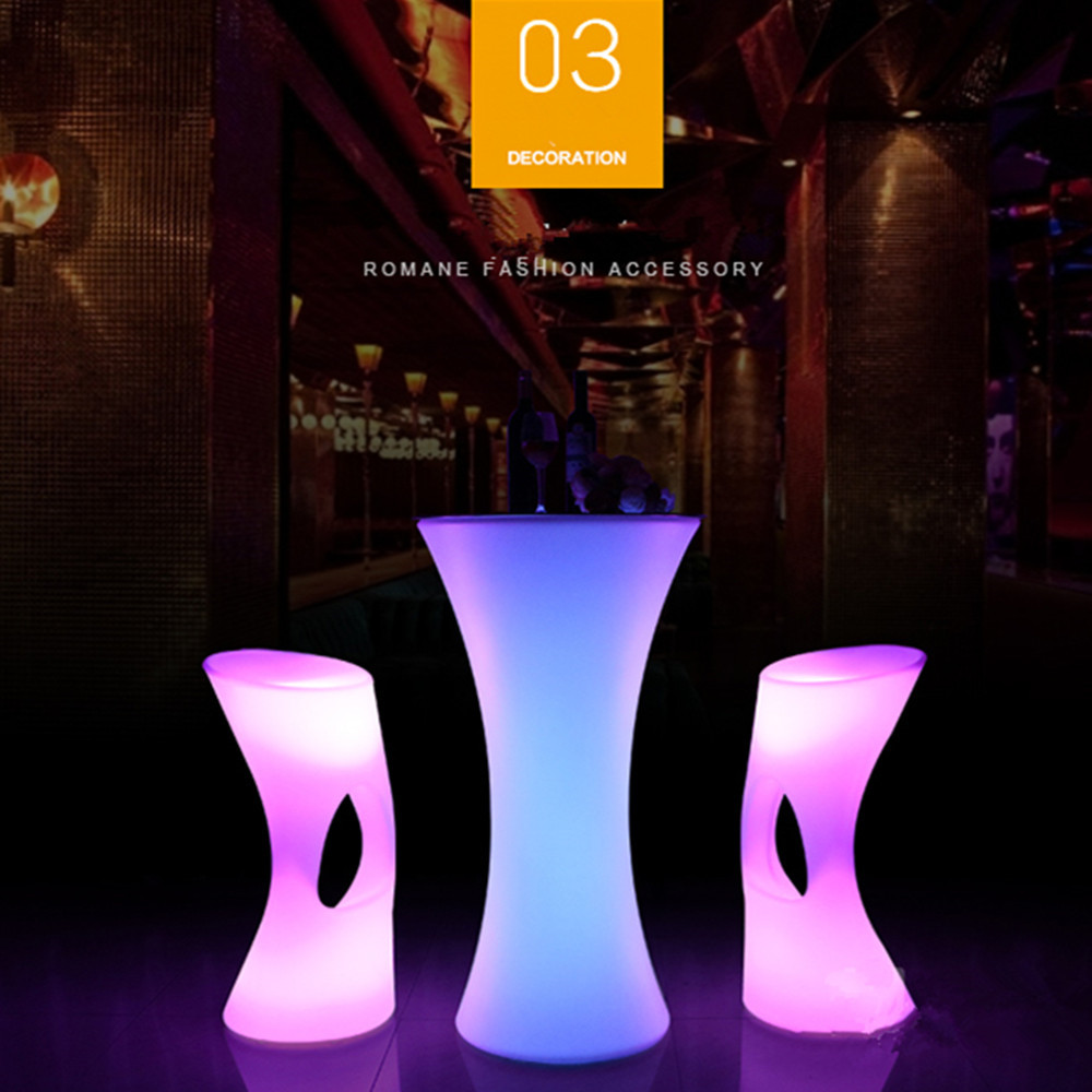 110CM Height Round Shape Rechargeable LED Luminous Cocktail Table Plastic Lighted Up Bar Table Club Disco Party Furniture Suppli