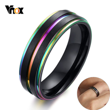 vnox 6mm 8mm spinner ring for men stress release accessory classic stainless steel wedding band casual male sports jewelry Vnox 6/8mm Rainbow Lines Ring for Men Black Stainless Steel Band Casual Male Finger Jewelry #7 - #12
